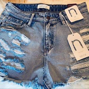 High Waist Destroyed Denim Shorts